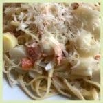 Spaghetti mit Lachsforelle